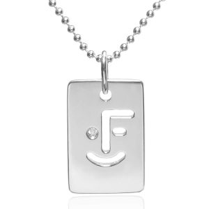 myface smile tag silver necklace for her