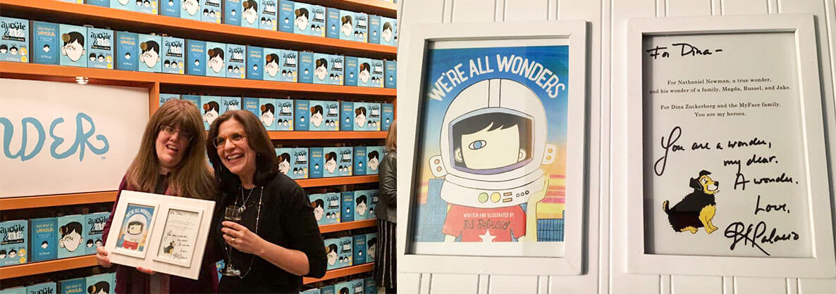 R.J. Palacio specially presented our Director of Family Programs, Dina Zuckerberg with a framed cover of the book
