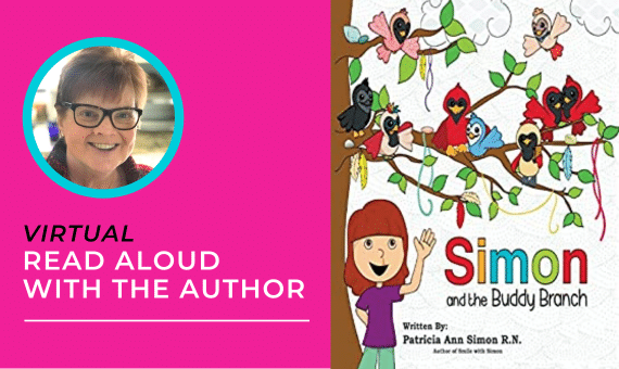 Image includes picture of Author Patricia Ann Simon, with short hair and wearing dark-rimmed glasses, along with a picture of the book cover Simon and the Buddy Branch.