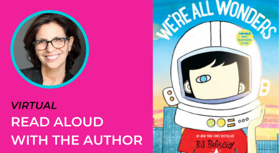 Image includes picture of Author & Artist R. J. Palacio, with dark hair and wearing dark-rimmed glasses, along with a picture of the book cover We're All Wonders.