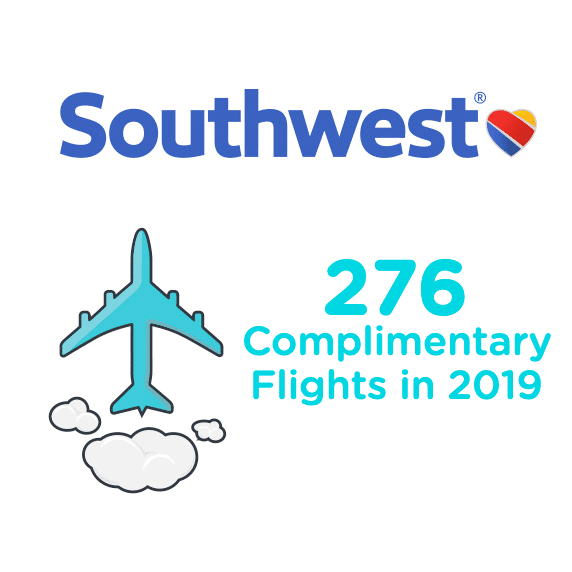 276 complimentary flights in 2019