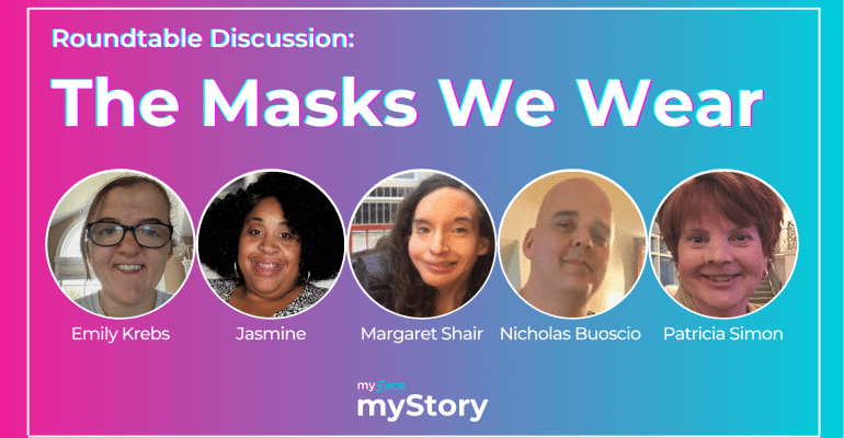 """Header Image includes the title """"The Masks We Wear"""" and has headshots of the 5 panelists side by side."""