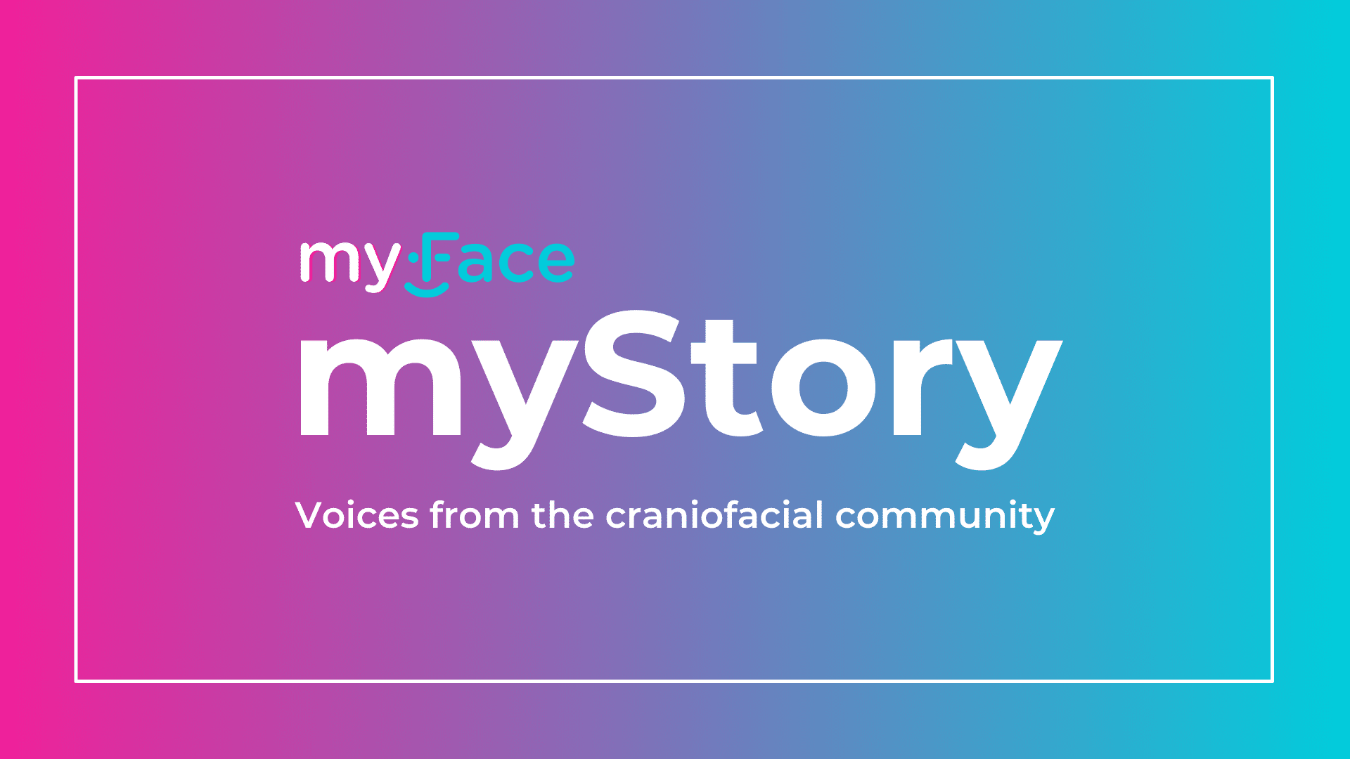 """Header image with gradient background from pink at left to baby blue at right, overlayed with the show title """"myFace, myStory"""" in bold white lettering."""