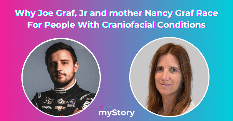 Image includes the page title in white text, with pictures of Joe Graf Jr. and his mother, Nancy Graf, in circles. Joe features a short beard and wears his racing suit while his mother has long brown hair and a white shirt.